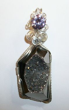 Dark Silver Natural Agate Titanium Druzy with by JoaniesCreations, $69.00