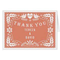 Papel picado love birds coral wedding Thank You Card