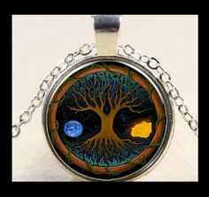 NEW - NATURE'S TREE OF LIFE GLASS OPTIC CABOCHON PENDANT SILVER CHAIN NECKLACE #Handmade #Pendant