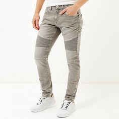 KLJR Men Ripped Distressed Full-Zip Stretch Solid Color Slim Fit Jeans Denim Pants