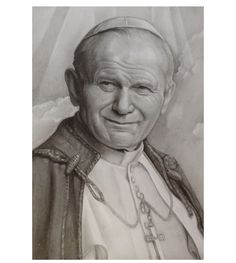 Pope John Paul II Drawing by Melissa Greco