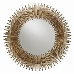 Arteriors Prescott Antiqued Gold Leaf Round Iron Mirror