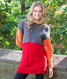 Color-Block Tunic Free Knitting Pattern in Red Heart Yarns