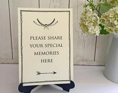 Please Share Your Special Memories Card Sign - Ivory. For Funeral Memory Table, Condolence Book, Celebration of Life, Memorial, Remembrance.