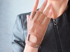 Genuine Leather Fingerless Short Gloves - Brown Unlined Bicycle Driving Gloves - Sheepskin  - Women - Winter Fall - Handmade - Free Shipping. $19.98, via Etsy.