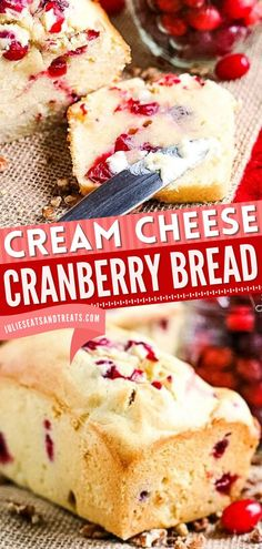 Here's a new holiday baking recipe for you to try! Loaded with tart cranberries, this Cream Cheese Cranberry Bread is a soft and tender loaf to add to your sweet breakfast ideas, holiday brunch recipes, or Christmas morning ideas! Breakfast Bread Recipes, Easy Bread Recipes, Brunch Recipes, Cranberry Cheese, Cranberry Bread, Easy Holiday Recipes, Sweet Breakfast, Holiday Baking, Snacks