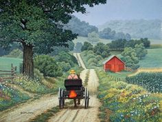 The Slow Lane – Shirley – Join in the world of pin Farm Paintings, Landscape Paintings, Country Paintings, Country Art, Country Roads, Polymer Clay Painting, Farm Art, Landscape Pictures, Gravure