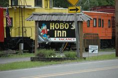 Hobo's Inn, Elbe, WA - Bikers Welcome! The motel rooms are all in railway cars.