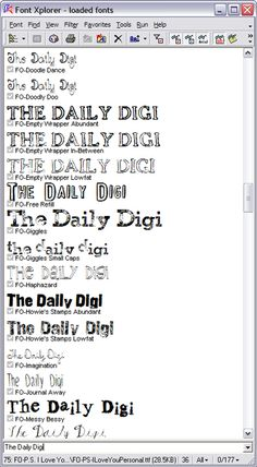 Organizing fonts, free program -- I have already downloaded this, and I am obsessed.  Wish I could have it at work.