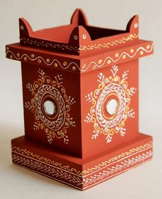 Pen holder traditional indian wooden by richhandicrafts on Etsy