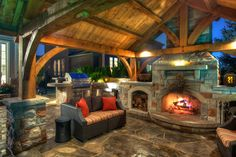 Outdoor fireplace pavillion | Cedar Springs Landscape