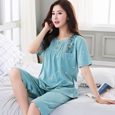 Linen Pajamas, sleepwear Women/ Linen Shorts and Ruffled Sleeves Linen Top/ Women's Pajama Shirt and Pants / Plus Size Linen Clothing Cotton Sleepwear, Sleepwear Women, Pajamas Women, Night Suit For Women, Stylish Tops For Women, Couple Pajamas, Pajama Outfits, Embroidery Suits Design, Kurta Designs