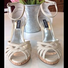 WHBM Beige 4 inch heels NWOT Great deal on these heels from WHBM! They have never been worn. Excellent shape. Perfect for all your spring and summer outfits.  White House Black Market Shoes Heels