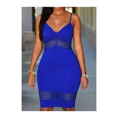 Rotita Open Back Zipper Closure Sheath Dress ($23) ❤ liked on Polyvore featuring dresses, blue, sleeveless sheath dress, mini dress, sleeveless dress, sexy blue dresses and strap dress