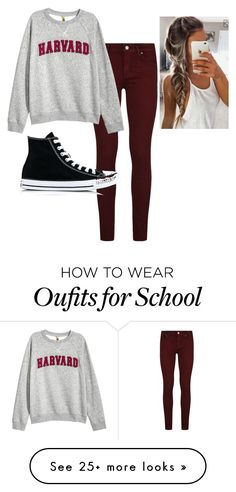 """""""Casual school day:)"""" by jkroll528 on Polyvore featuring Paige Denim, H&M and Converse"""