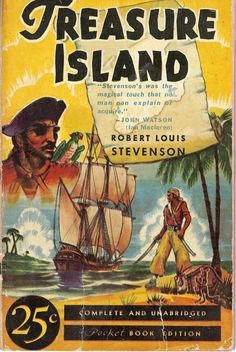 A Pocket Book edition of Treasure Island from Treasure Island Book, Treasure Island Robert Louis Stevenson, Pirate Movies, Pirate Art, Best Mysteries, Book Cover Art, Book Covers, Pocket Books, Reading Material