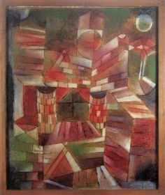 """Architectur mit. den Fenster, 1919. Paul Klee selected his Cubist oil painting """"Architektur m. d. Fenster"""" (Architecture with Window) of 1919 for a publication to mark the programmatic Bauhaus exhibition of 1923. In this painting, he reflected on both his role as a teacher at the Bauhaus and the relationship of painting to the Gesamtkunstwerk (total work of art) called for by Gropius, which was to culminate in the building."""