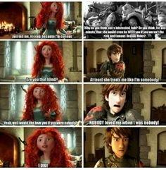 Awww know the reference but I like Astrid but Merida and hiccup r so cute!