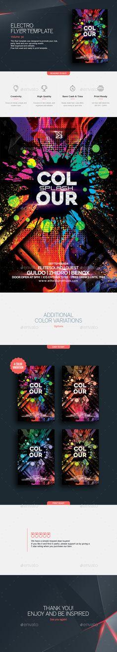Colour Splash - Flyer Template  #PSD #4x6 • Click here to download ! http://graphicriver.net/item/colour-splash-flyer-template/16020654?ref=pxcr