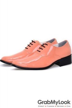GrabMyLook Orange Patent Glossy Fancy Color Leather Lace Up Point Head Mens Oxfords Shoes