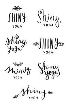 WIP: Shiny Yoga Logo — June Letters Studio This is actually my friend! I love how the word yoga looks in cursive writing- second row, third row Typography Letters, Graphic Design Typography, Lettering Design, Creative Lettering, Brush Lettering, Logos, Logo Branding, Yoga Logo, Graphic Design Inspiration