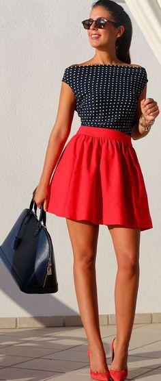 Red Pleated Zipper Above Knee Wool Skirt