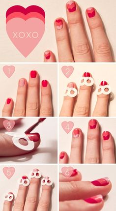 To produce 'Heart Nails' you just need 3 fingernail polish shades & poly-vinyl rings to reinforce hole-punched pages [ie. Avery Reinforcements can be purchased as Staples], using two rings connected for each finger. Paint full nails one color, then gradually work your way up the nail with the complementing colors... wait for colors to dry between coats of polish. <3<3<3<3<3