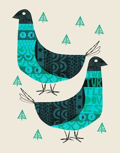 Two Turtle Doves print by Methane Studios