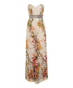 Love this Little Mistress Ivory & Yellow Floral Maxi Dress by Little Mistress on #zulily! #zulilyfinds