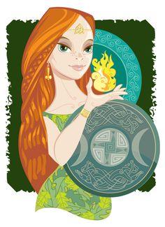 Beautiful Goddess Brigid - Illustration by Prescott Hill - http://www.hillustrate.com