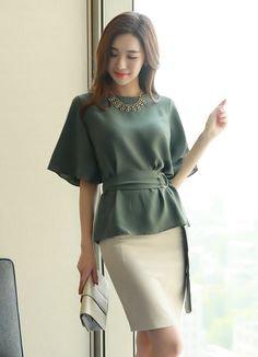 Side Buckle Belted Half Sleeve Blouse - Korean Women's Fashion Shopping Mall, Styleonme. N The Effective Pictures We Offer You About fash - Work Fashion, Hijab Fashion, Korean Fashion, Fashion Dresses, Half Sleeve Shirts, Half Sleeves, Mode Abaya, Korean Women, Office Outfits