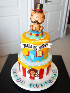 You can read my disclosure policy here . I hope you enjoy these amazing CIRCUS PARTY ideas. Circus Theme Cakes, Carnival Cakes, Carnival Themed Party, Circus Party, Themed Cakes, Circus Wedding, Circus 1st Birthdays, Circus Birthday, First Birthday Cakes