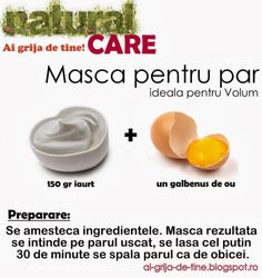Masca pentru par - ideala pentru volum Beauty Tips For Hair, Natural Beauty Tips, Beauty Hacks, Hair Beauty, Skin Nutrition, Face Health, Face Hair, Homemade Beauty, Natural Medicine