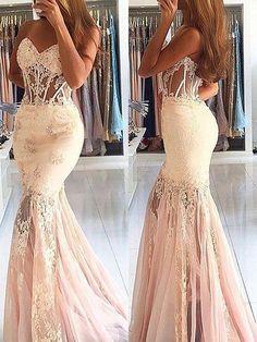 Trumpet/Mermaid Sleeveless Sweetheart Tulle Lace Sweep/Brush Train Dresses