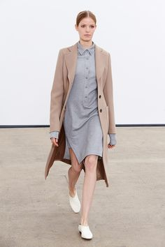 Derek Lam Resort 2015, light blue dress, beige coat, white flat shoes #style #fashion