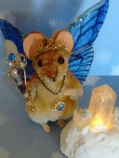 1:12 5 way jointed Winter Fairy Princess Butterfly Mouse by Artist R J Andreae   #NeedleFeltedAnimals