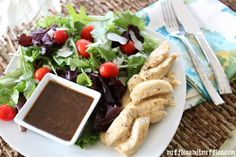 Garlic and Herb Chicken Salad with Balsamic Vinaigrette 30 Minute Meals, Chicken Salad, Soup And Salad, Vinaigrette, Dressings, Yum Yum, Herb, Great Recipes, Salad Recipes