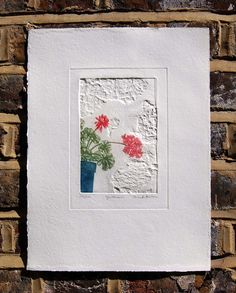 Geranium by Brenda Hartill Paper size Print size Etching using Traditional Oil based inks and Somerset paper Blind Embossing, Collagraph, Collage Art Mixed Media, Embossed Paper, Geraniums, Paper Size, Art Forms, Printmaking, Paper Art