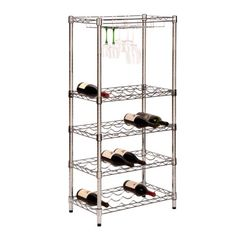 HoneyCanDo SHF02922 5Tier Steel Wire Urban Wine Bottle Rack with 24Cradles and 4Caddies 24 by 49Inch ** This is an Amazon Affiliate link. Be sure to check out this awesome product.