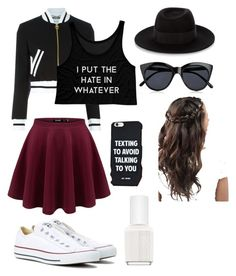"""Whatever✌"" by biaviola2552 on Polyvore featuring Moschino, Converse, Le Specs, Maison Michel and Essie"