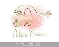 Stamped Business Cards, Bowl Logo, Chef Logo, Baking Logo, Kitchen Logo, Bakery Logo Design, Pin Logo, Watercolor Logo, Vintage Logo Design