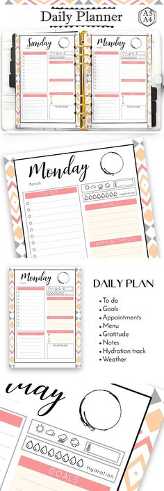 A5 Daily planner printable in Coral color instant download