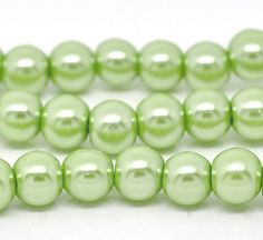 20 Spring Green Glass Pearls 8mm 3942 by OverstockBeadSupply, $1.50