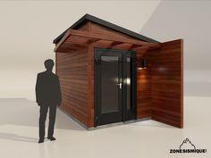 zone-sismique-cabanon-moderne-design-2014-v1 Garden Playhouse, Build A Playhouse, Modern Shed, Modern Garage, Gazebo, Yard Sheds, Container Shop, Garage Apartments, Garden Studio