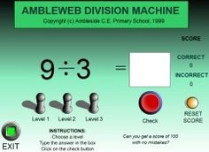 A simple division practising resource which three levels of difficult.