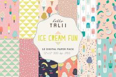 Ice Cream Fun- 12 Digital Paper Pack by Hello Talii on @creativemarket