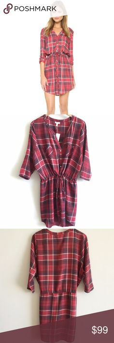 "nwt | Soft Joie Garnet Rose Plaid Shirt Dress S A flattering waist tie nips in the silhouette of a casual shirtdress cut from smooth plaid-patterned challis. Breast pockets detail the front, and contrast buttons fasten the placket. Three-quarter length sleeves, front button closure, split neck, and curved hem. Unlined.   • size S • 48"" bust, 38"" waist, 19"" sleeve length, 42"" hips, approx 36"" length  • color: garnet rose -- reddish pink plaid with white, blue, and black lines • 100% rayon •…"