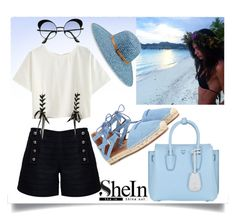 """""""SheIn"""" by ljabii ❤ liked on Polyvore featuring Rumour London, MCM, Aquazzura and Betmar"""