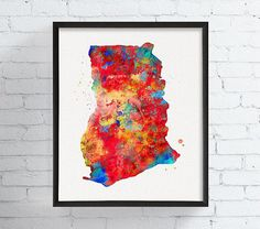 Your place to buy and sell all things handmade Ghana Africa Map, Map Wall Art, Map Art, Watercolor Animals, Watercolor Print, Ghana Art, Ghana Travel, Canvas Prints, Art Prints