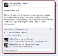 Caso: Empresa prohibe comentarios negativos en su Facebook.  Clic en el imagen, y llegas a Facebook y ves la publicación original.